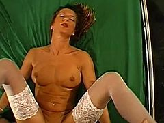Hottie in sexy lingerie plays really amazing during rough gang bang porn show
