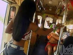 A group of tourists having group sex in a bus. Oiled girls giving blowjobs and a beautiful latina brunette getting fucked doggystyle on the passengers's seat