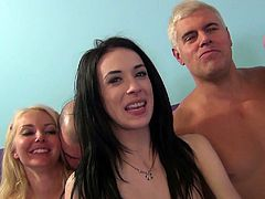 Two brunettes and a blonde have the best day in their lives. They have an amazing group sex experience. Chicks sit on guys' faces and get banged hard. The most enjoyable day they can imagine.