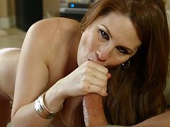 Make sure you have a look at this great clip where the sexy redhead milf Alison Moore sucks on this guy's big cock after leaveing you speechless with her body.