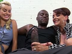 Horny black dude fucking super hot Jessie Rogers and Janet Mason in amazing threesome. That horny MILF let him to cum in her sweet pussy.