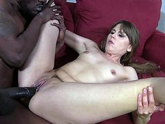 Amber wraps her mouth around his fat, black dick and sucks until he is hard then she takes that cock in her pussy and ass.