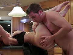 Watch this hardcore scene where the slutty Veronica Avluv gets fuck on top of the kitchen counter as as you hear her moan.