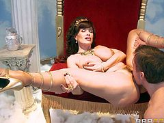 Lisa Ann is one mature beauty goddess with huge boobs. She loves fat hard dicks like Mick Blues one. Hot woman gives great titty job before he inserts his thick cock in her many times used pussy.