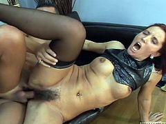 Have fun jerking off to this hot scene where a horny redhead mature is fucked by a guy as she wears stockings and moans at the top of her lungs.
