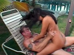 Sativa Rose has creamy brown skin and great beautiful bouncy tits. She gets outside and fucks this dude silly! Take that cock good!