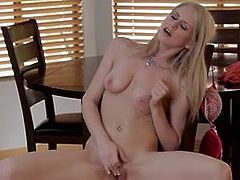 Big-Titted blonde student massages her swollen pearl