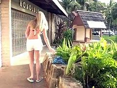 Alison Angel has a vacation in Hawaii. She plays with parrots there. Of course she is in the bikini all the time because it is very hot there. She also fondles her pussy through the shorts.