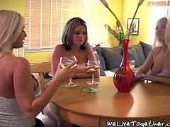 These three hotties hung out and had lunch together then went back to Courtney's place, got naked and got down to some serious erotic business.
