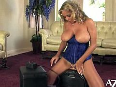 Amber Lynn Bach's pussy lips are vibrating when she's riding the sybian. She places her clit on the machine.