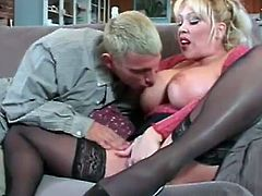 Touch yourself watching this blonde mature lady, with immense love pillows wearing black stockings, while she gets her pussy licked before she sucks a pole!