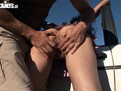 Get a load of this hot outdoors scene where the mature Romana gets fucked by a guy before her mouth's filled by cum.