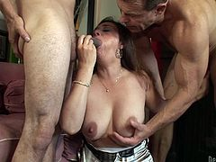 Jay Huntington, Alesia Pleasure and Mario Montana make an amazing show. Alesian and Mario give a blowjob to Jay. Then the busty babe gets rammed in her incredible pussy.