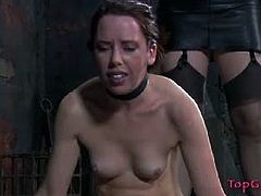 Top Grl brings you a hell of a free porn video where you can see how the alluring brunette temptress sister Dee tortures a nasty slave and makes her cum after suspending her on ropes.