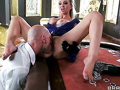 Passionate minx Abbey Brooks with juicy tits fucks a lot before Johnny Sins shoots his load