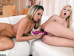 Blonde Aleska Diamond loves getting her honeypot licked out by lesbian Donna Bell to orgasm