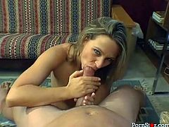 Cum craving curvy beauty Brianna Beach sits on her knees and greedily sucks thick cock of her mate. Babe strokes that meat pole with her hands till cock explodes with jizz all over the room.