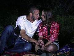 This horny couple went to the park at night, put down a blanket then they got naked and fucked like crazy under the stars.