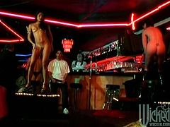 Some hot chicks perform hot show in a stripclub. Some of these chicks give not only aesthetic but also physical pleasure. The gives hot blowjob to visitors.