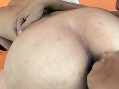 This Asian nympho needs a good pussy workout so she spreads her legs indicating how bad she wants her friend to tickle her snatch with her vibrator. Then he fingers her wet muff.