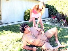 Cute slim chick Kara Bare is having fun with some dude in the garden. She gives him a passionate blowjob and then gets her shaved pussy drilled hard.