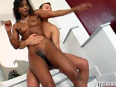 Interracial threesome in MMF style with a kinky ebony Jasmin! She blows them both and both cocks enter her sweet holes at a time.