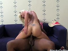 Watch the slutty blonde Whitney Grace is filled by warm cum after taking a pounding from a monster black cocks.