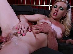 Slutty bitch gets her pussy fucked and filled with jizz in this awesome hardcore sex scene right here with a horny stud.