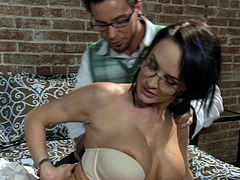 Check out this hardcore scene where the sexy brunette Alektra Blue is nailed by a big cock as you hear her moan and see her make pleasuring faces.