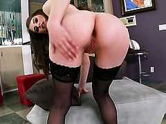 Alice March with tiny tities and bald bush gives pleasure to herself with the help of dildo