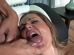 Hardcore blonde is sucking a big dick