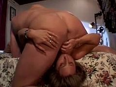 Sex addicted woman undresses and gets her vagina licked. Later on she blows big cocks and gets banged. This lustful chick loves threesome sex a lot.