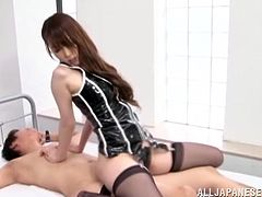 She is going to be a horny doctor and she is going to examine this dude, not in medical way, though. She is taking over and pissing on him!