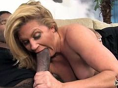 Ginger Lynn gags for gigantic black cock. This blonde MILF has those huge tits to be proud of. She i s definitely ready for anything in this interracial encounter.