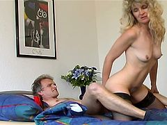 Horny dad takes his filthy old cock inside nasty blonde momma pussy for stuffing.