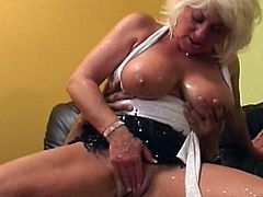 Amazing blonde cougar, Dana Hayes, gets fucked by younger stud in pure hardcore