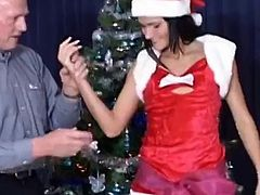 Old man Fuck Gorgeous Brunette at Christmas