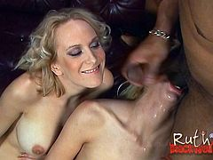 Two White girls enjoys an interracial FFM sex. They give pleasurable blowjob to Black dude and then get rammed from behind. Babes also lick each others pussies.