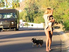 Click to watch this blonde babe, with natural boobs while she walks her dog and masturbates in the middle of the street, She is a sweet angel!