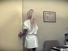Erica Fontes is a sexy blonde lady and she is a dentist. She seduces yet another patient at her office. Beauty gets her coochie eaten, rides that big dick on top and gets fucked doggystyle.