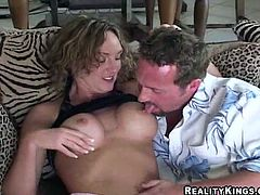Curly chick shows off her hot ass and gets her tits licked. Andrea gives skillful blowjob and then gets banged in acrobatic positions.