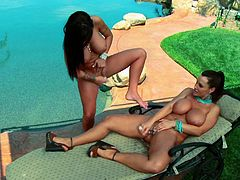 Poolside adventures are probably the hottest ones! Horny milf pornstars Jenna Presley and Lisa Ann are exploring each other's twats.