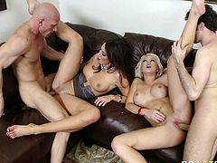Watch these perverted jerks fucking those two sexy and horny white slutty chicks in their bedroom in Brazzers Network sex clips.