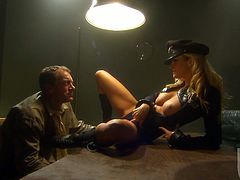 A smoking hot police officer is giving him the hottest interrogations