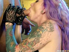Krysta Kaos is an alternative skinny slut with tattoos all over her body and purple hair. This hottie in high boots and black leather bikini takes guys fat hard dick with wild passion. She sucks his sausage and then gets her slit banged.