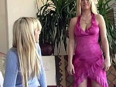 Hot Alison Angel takes clothes off in the presence of another blonde girl. Alison shows off her tits and dresses up some miniskirt.