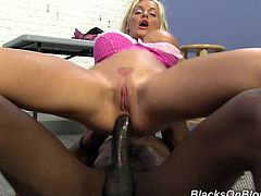 Hot blondie in pink lingerie takes BBC in her tight ass and pussy