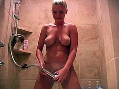 She wants to take a shower and she wants you to watch how she does it. Hot and wet solo in the shower by gorgeous Alison Angel.