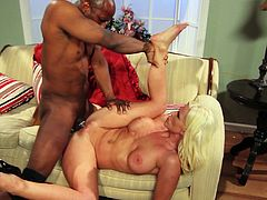 Have a blast watching this blonde cougar, with giant knockers and a shaved cunt, while she goes hardcore and swallows all this dude's cum!
