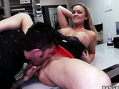 Abbey Brooks lets dude shove his rock solid love wand in her mouth